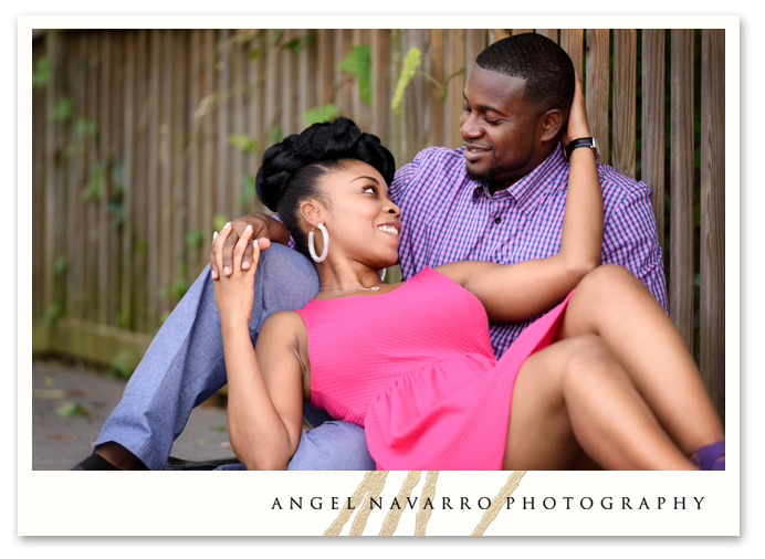 Embrace Loving Seated Posed Couple Engagement Session