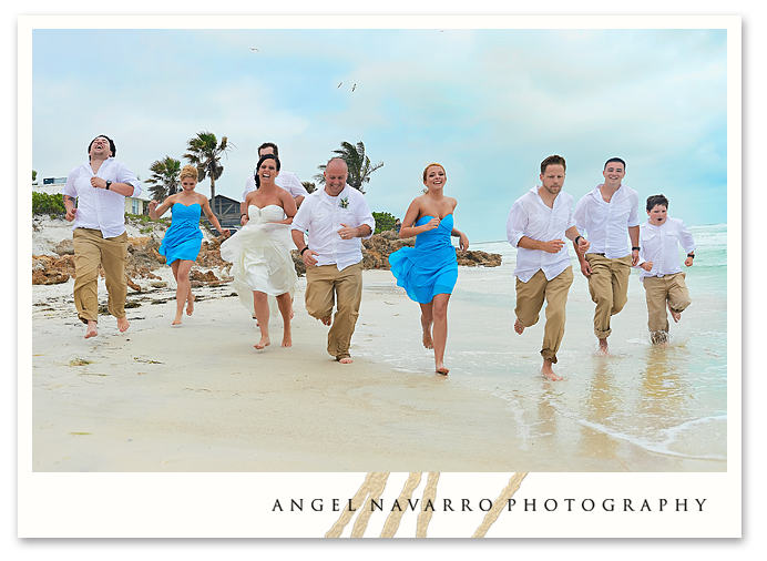 Wedding Party Running and Laughing