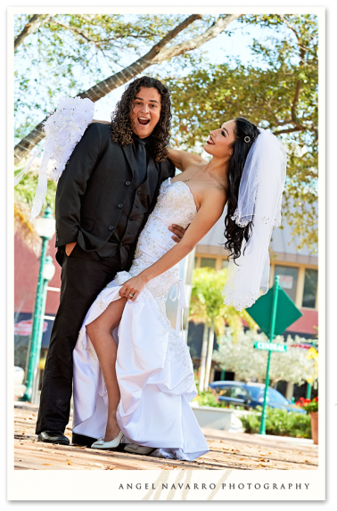 Bride and Groom Having Fun with Wedding Pictures in Sarasota
