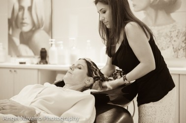 Hair washing prior to photo shoot.