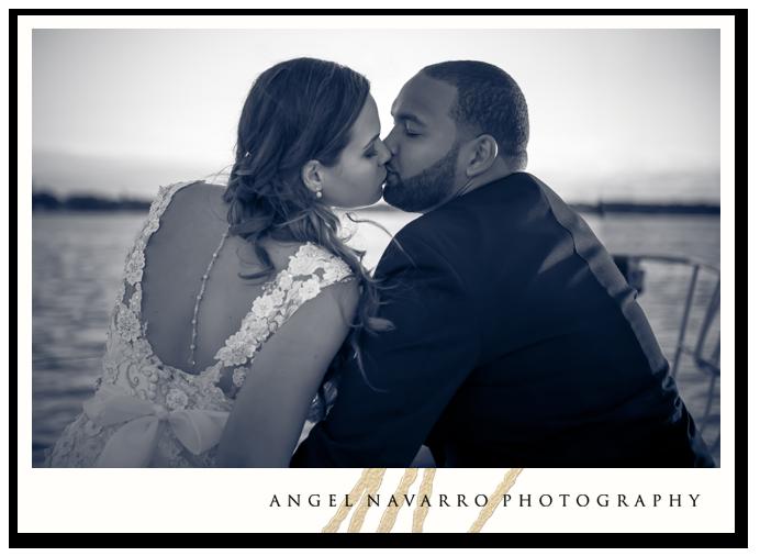 Romantic Wedding Kiss on Deck