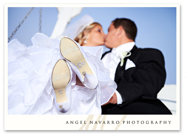 Bride and Groom Funny Shoes Kissing