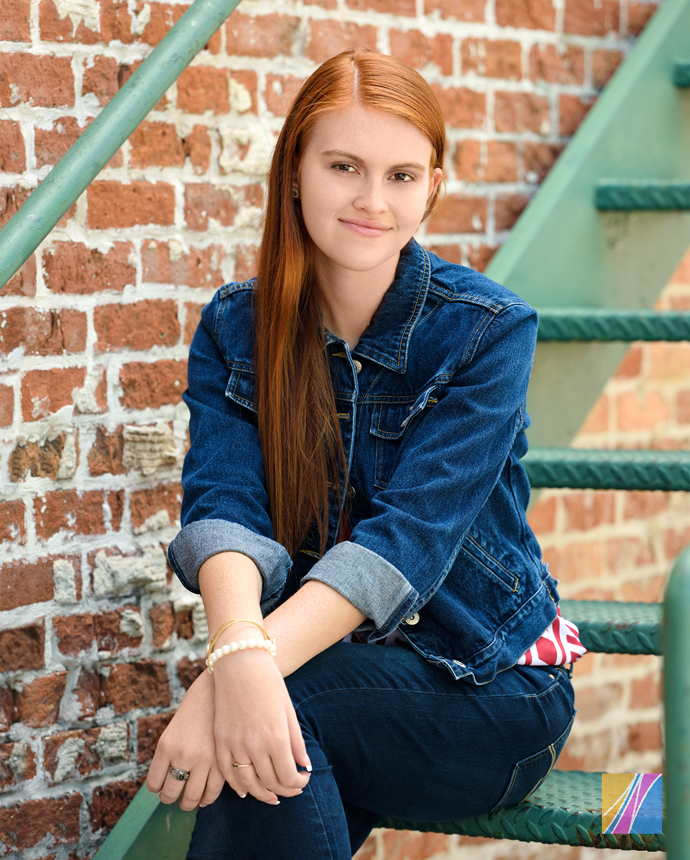HS Senior Posed Sitting on Steps