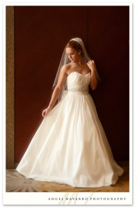 A full-length bridal portrait.