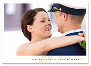 bride embracing military soldier