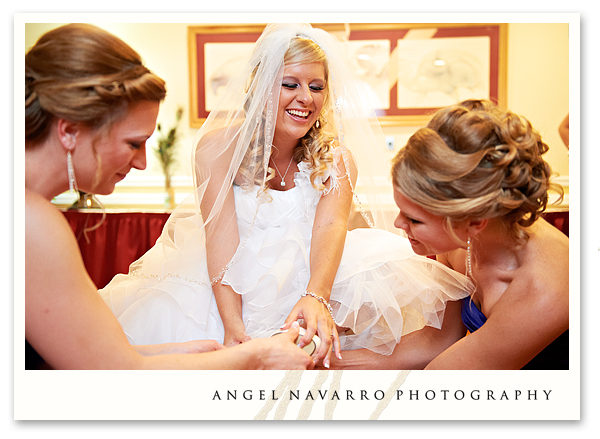 Bride in Dressing Room with Bridesmaids