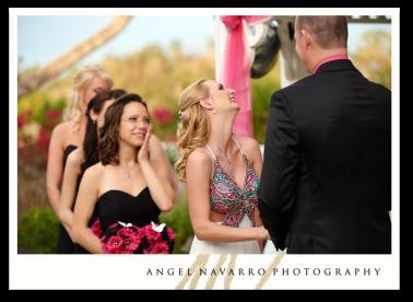 Bride chuckels at her wedding.