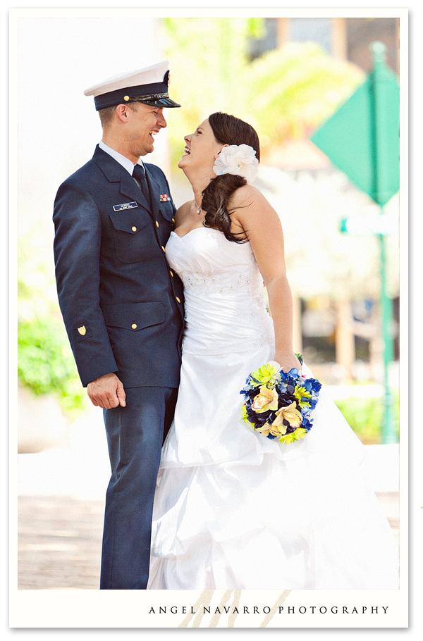 Bride soldier laughing wedding