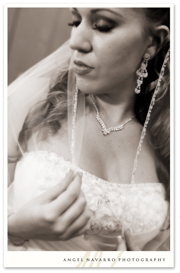 Bride with her veil.