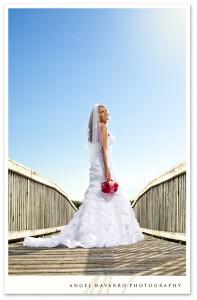 Bridal portrait outdoors on a bridge