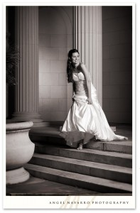 Bride in Gown Walking Down Steps