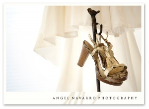 Wedding shoes and the dress.