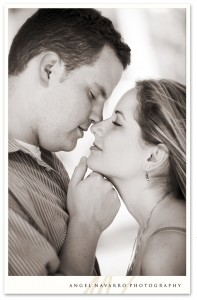 Justin and Katie get up close for a kiss during their e-Session