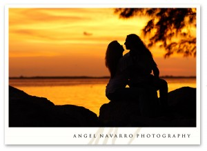 Incredible sun setting during an engagement portrait.