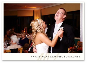 Father of Bride Laughing Enjoying Reception