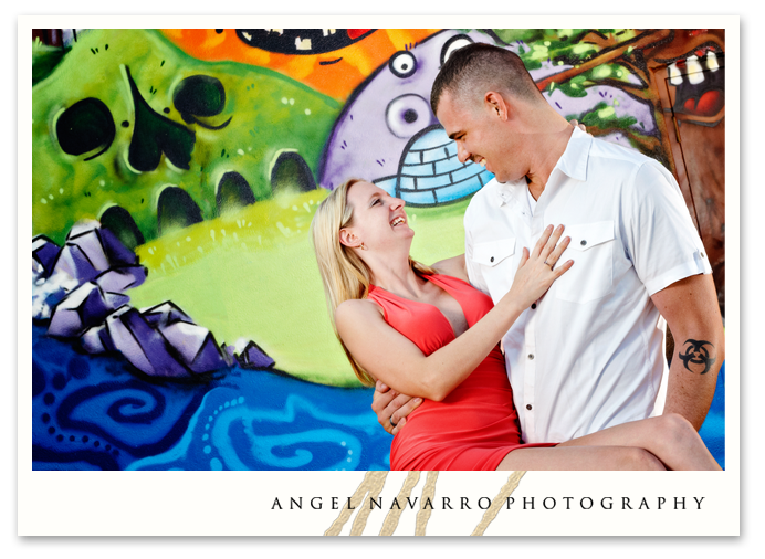 Fun background in engagement picture.