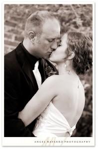 Kissing at the reception.