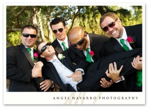 Funny groomsmen with the groom