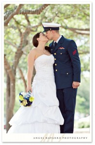Military wedding, soldier kissing his wife