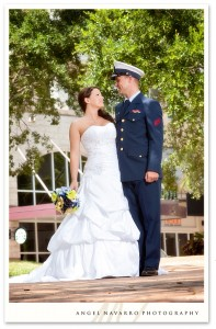 Outdoor military wedding portraits