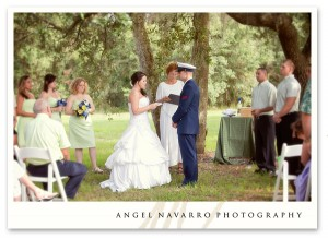 Outdoor military wedding bride altar