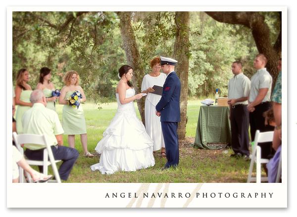 Outdoor military wedding bride altar