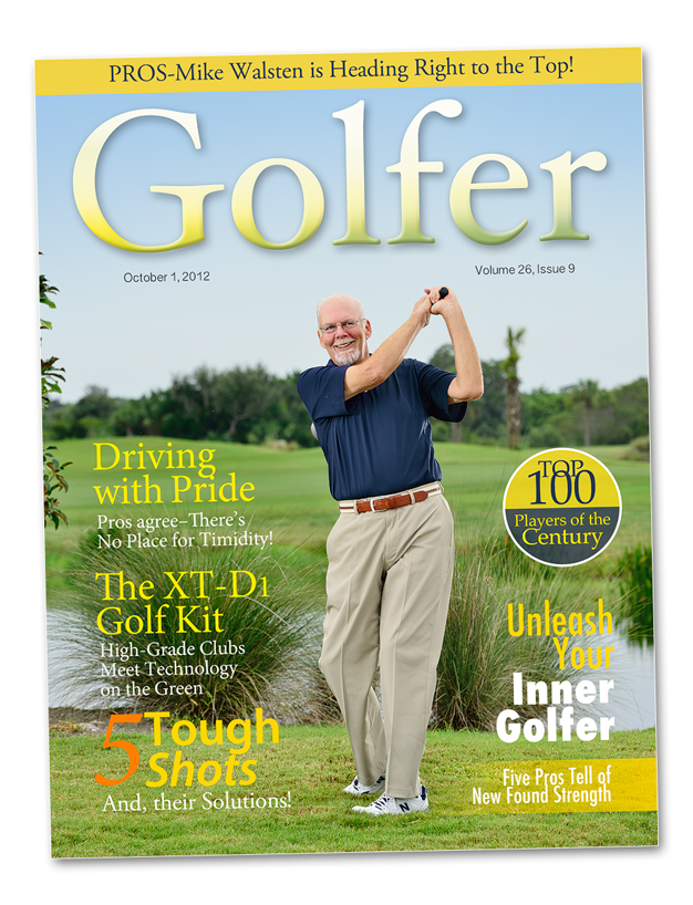 A professional portrait of a golfer for a magazine cover.