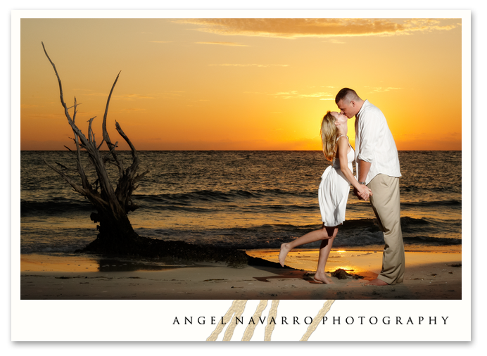 Beautiful later afternoon sunset engagement picture and photography in Sarasota.