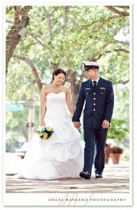 Soldier walking bride on wedding day