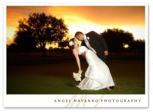 Striking wedding portrait at sunset.