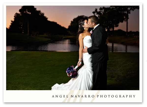 Sunset wedding portrait of bride and groom.