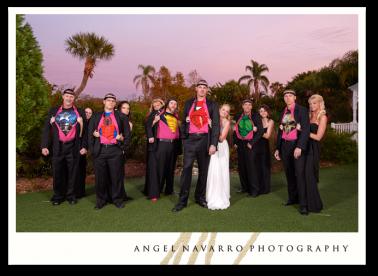 Wedding groomsmen dressed as super heroes.