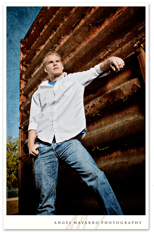 High School Senior Picture in Front of Old Train Cart