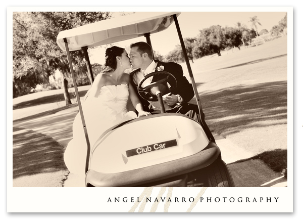 Wedding fun on a golf cart.